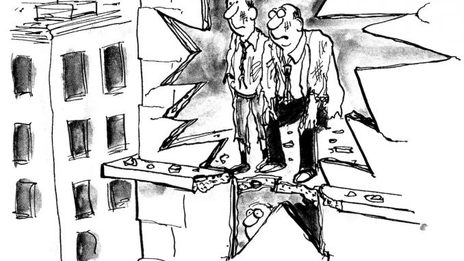 Two male executives look at explosion