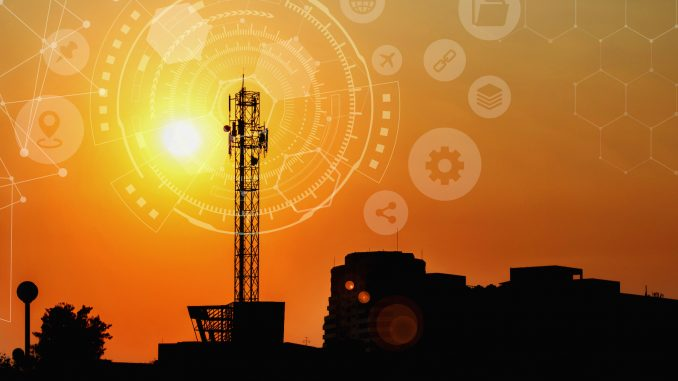 Signal tower with Technology Circle , Large antenna with the sunset, Technology background