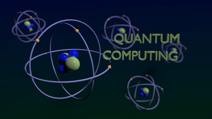 Quantum computing concept green and blue molecules on dark background