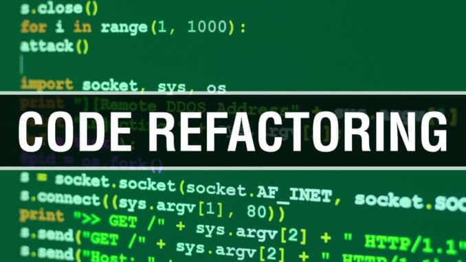 Code refactoring with Digital java code text. Code refactoring and Computer software coding vector concept. Programming coding script java, digital program code with Code refactoring on screen